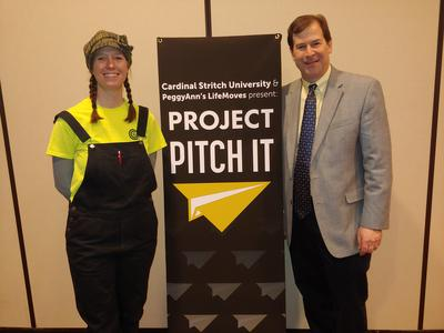 b12fbd5a8 Melissa Tashjian of Compost Crusaders and Cardinal Stritch University Prof.  Mark Gesner at a preview event for