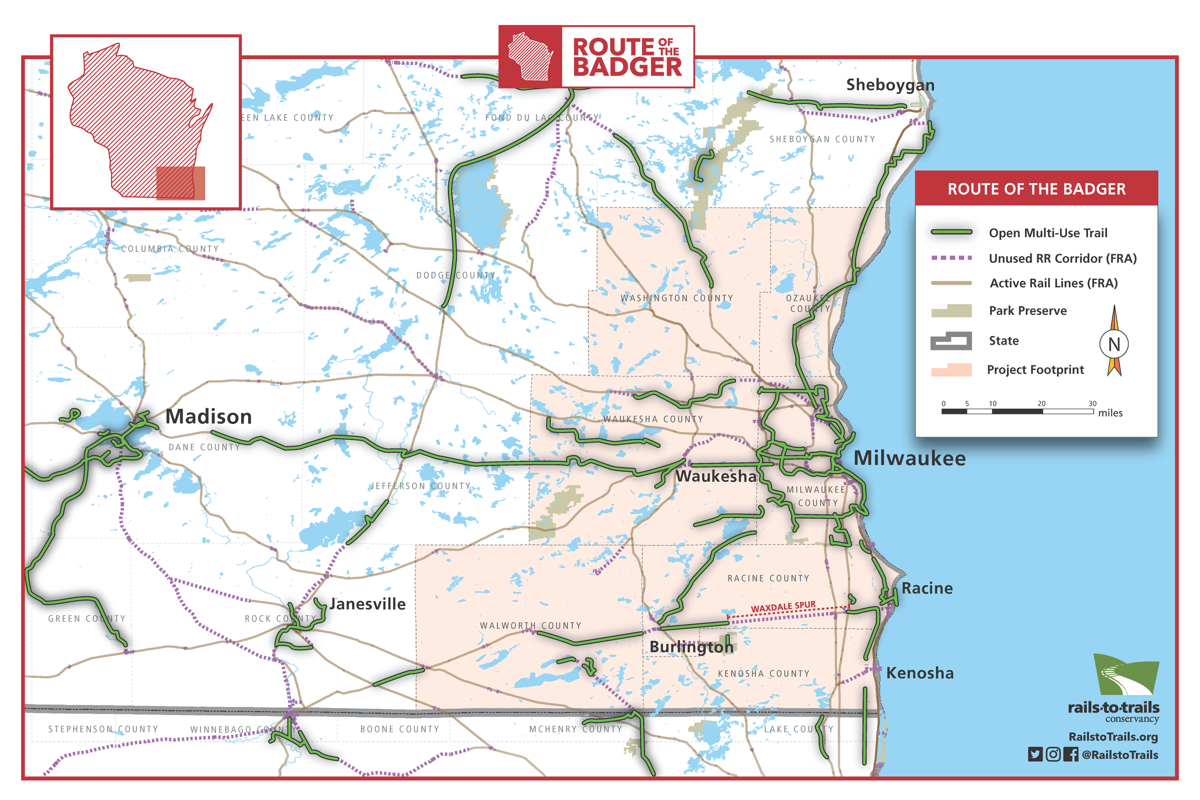Route of the Badger: Planning a 500-Mile Trail Network to ... on wisconsin altitude map, wisconsin reservation map, wisconsin state highway map, wisconsin zone map, wisconsin detours map, wisconsin hwy map, wisconsin road map,