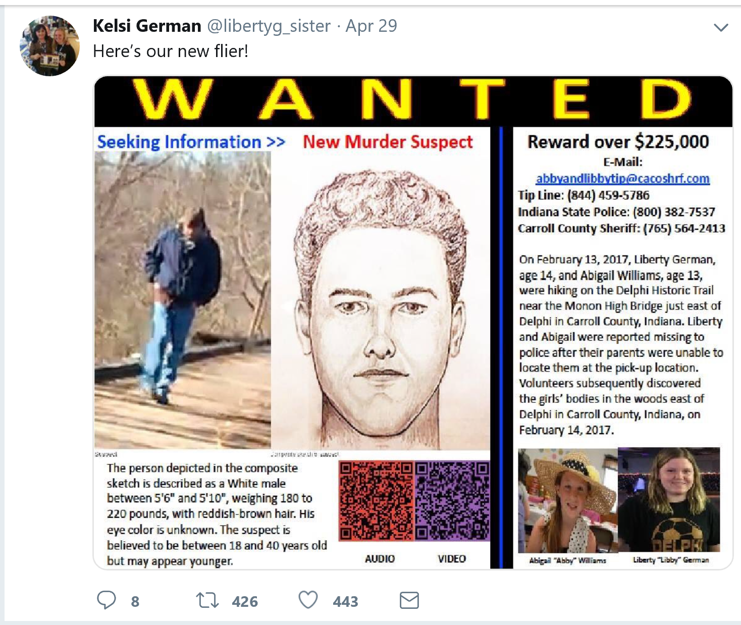 Sister Of One Of Slain Delphi Girls Takes Suspect Search To Twitter