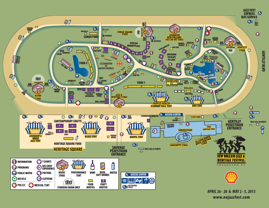 No Jazz Fest >> 2013 Jazz Fest Map Wwno