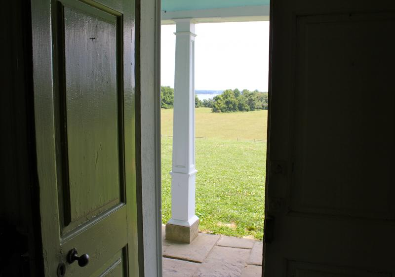 The view from the front door of the main plantation house at Sotterley. According to Pirtle, no trees would have obstructed the view of the river in 1812.