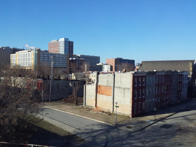 This view from the train is among the first glimpses of Baltimore travelers see as they come to the city.
