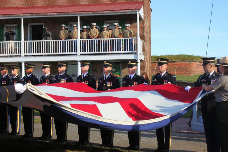 A full-size replica of the flag originally flown 200 years ago.