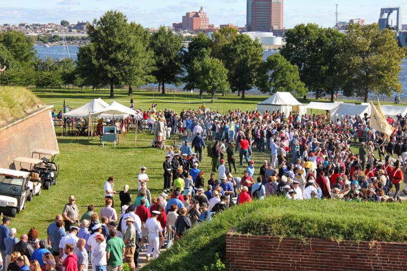 The crowd funneled out of the fort to watch cannons new and old fire volleys.