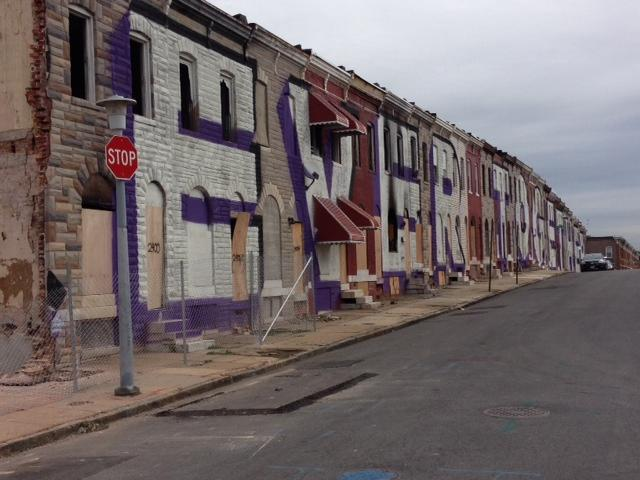 The mural after seven homes were torn down by October.